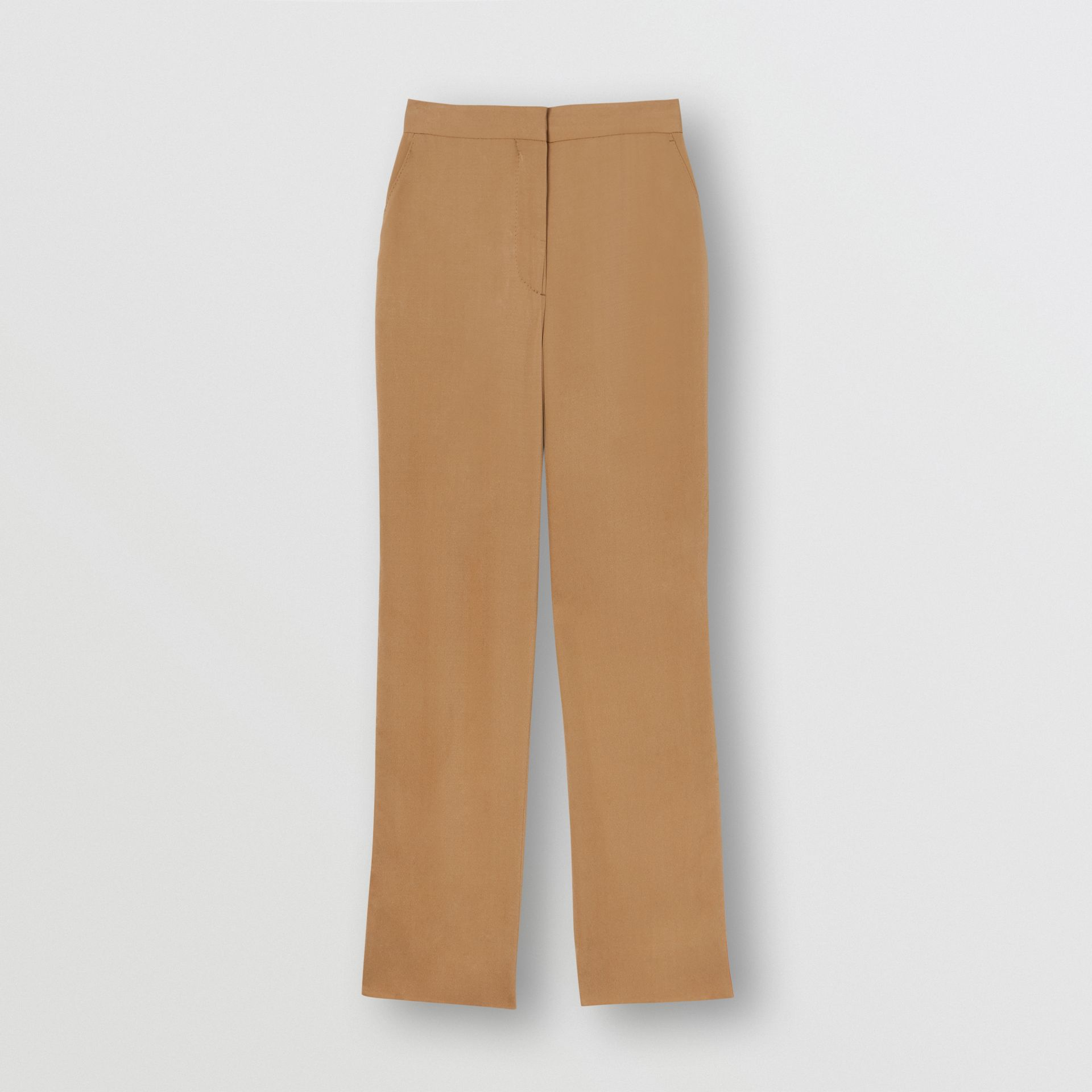 Satin Stripe Crepe Tailored Trousers in Driftwood - Women | Burberry United States - gallery image 3