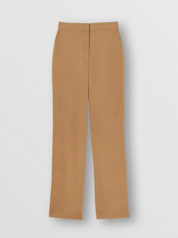 Satin Stripe Crepe Tailored Trousers in Driftwood