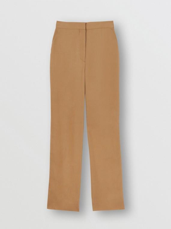 綢緞條紋皺綢套量裁製長褲 (漂流木色)