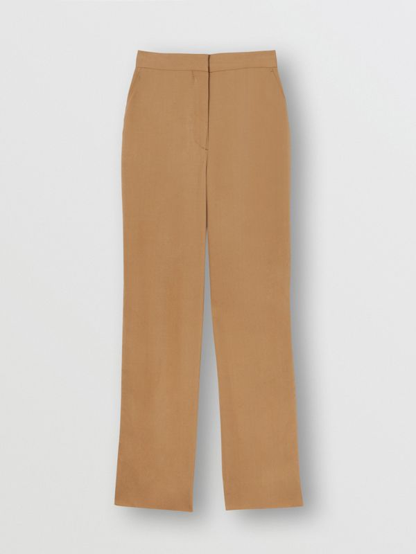 Satin Stripe Crepe Tailored Trousers in Driftwood - Women | Burberry - cell image 3