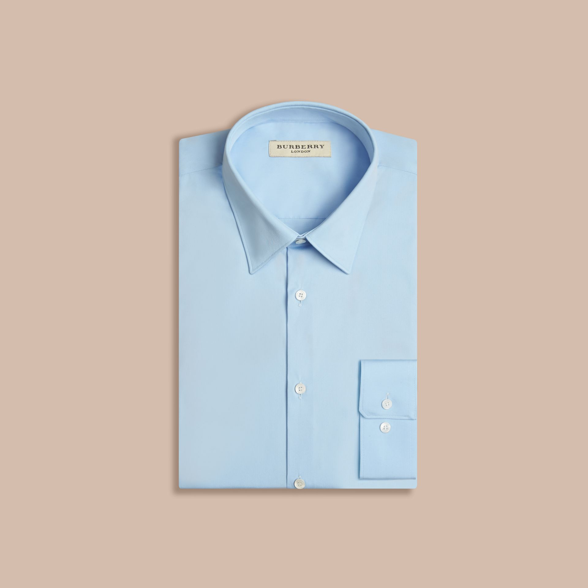 Modern Fit Stretch Cotton Shirt in City Blue - gallery image 4