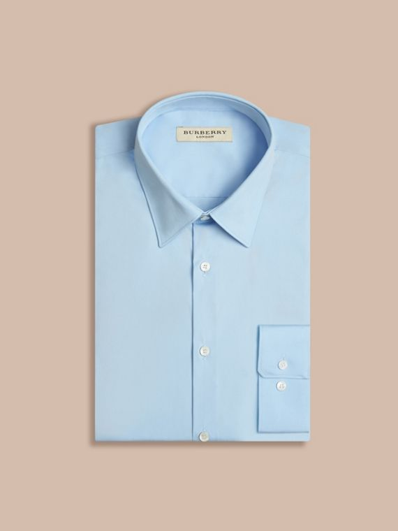 Modern Fit Stretch Cotton Shirt City Blue