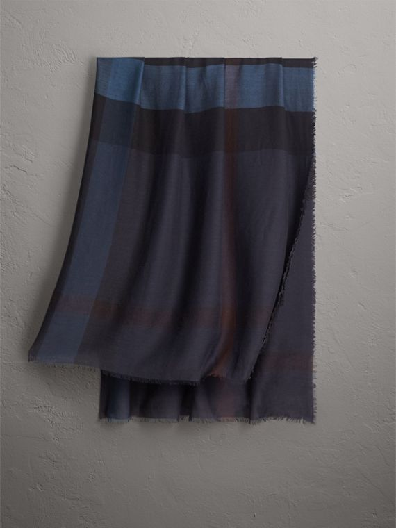 Large Lightweight Check Silk Modal Wool Square Scarf in Navy