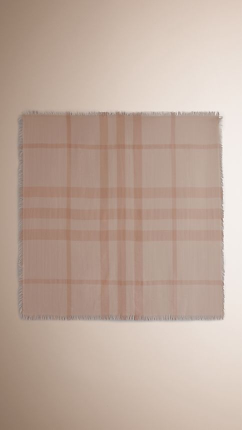 Pale nude chk Check Cashmere Square - Large Pale Nude Chk - Image 3