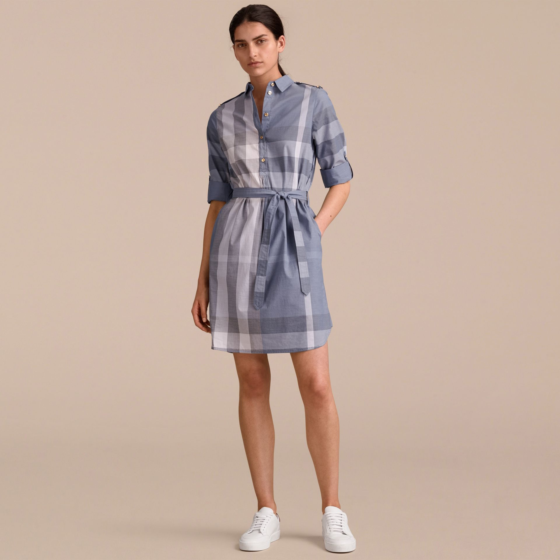 Tie-waist Check Cotton Shirt Dress - gallery image 6