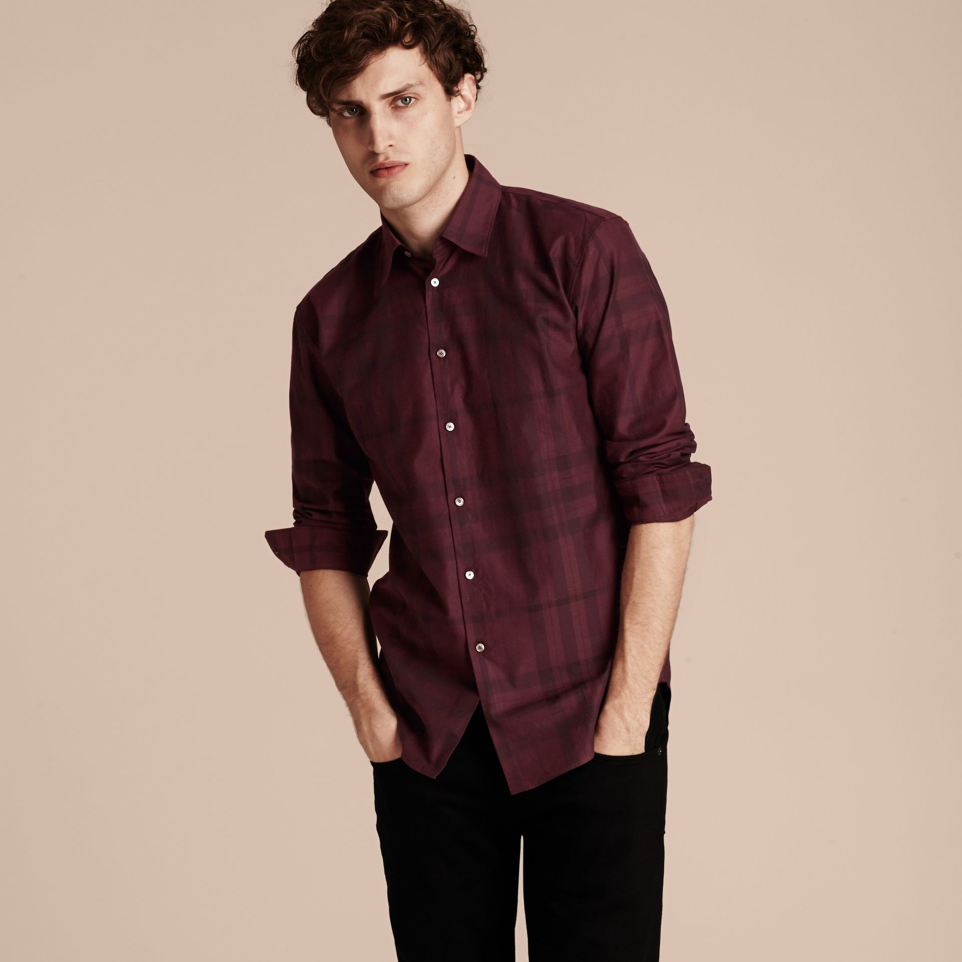 Deep burgundy Check Cotton Flannel Shirt Deep Burgundy - gallery image 6