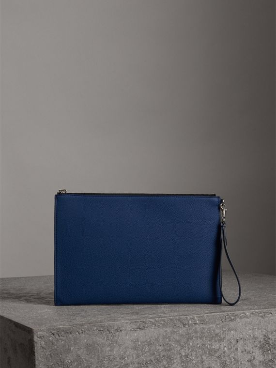 Grainy Leather Zip Pouch in Bright Ultramarine | Burberry - cell image 2