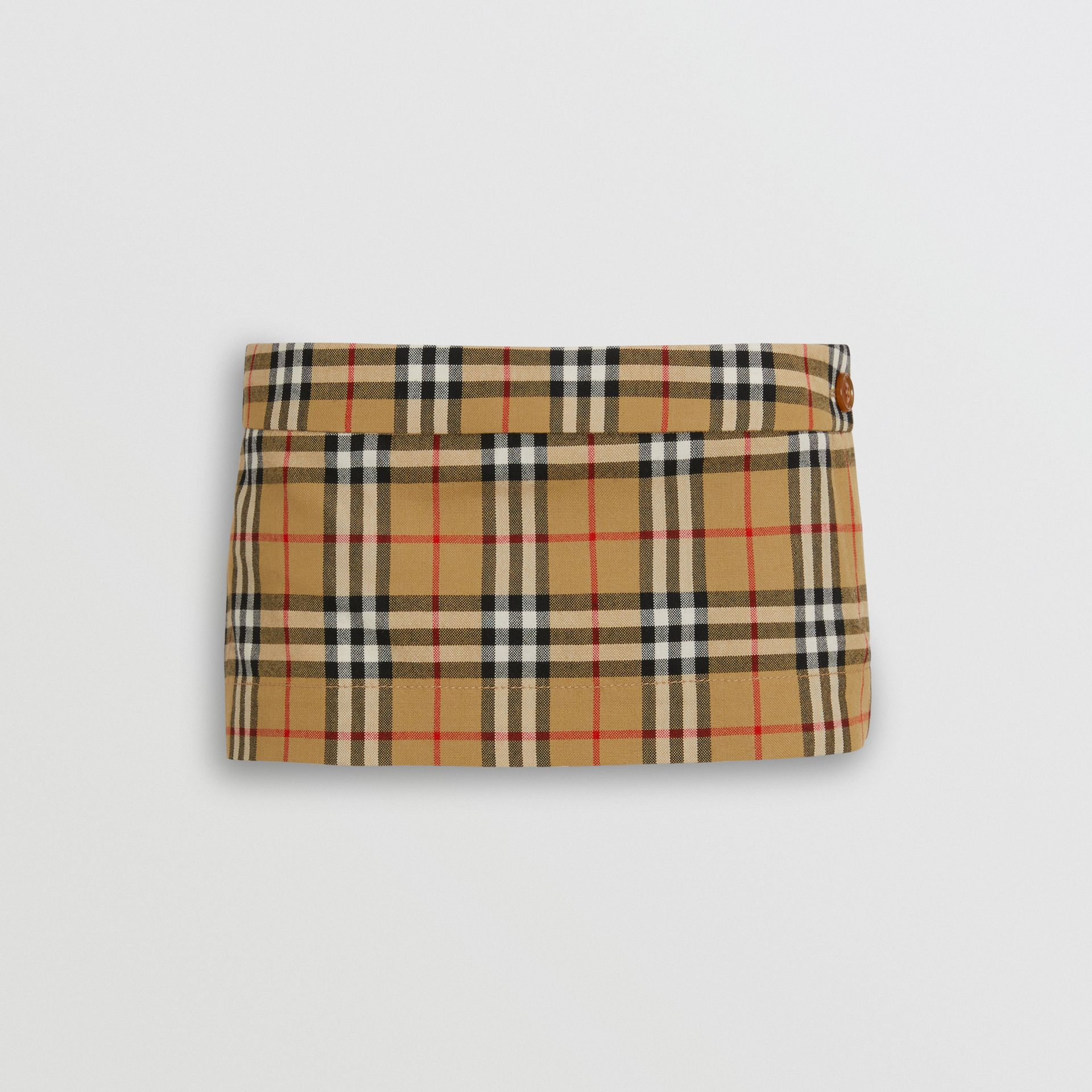Vintage Check Wool Twill Mini Skirt in Antique Yellow - Women | Burberry - gallery image 3