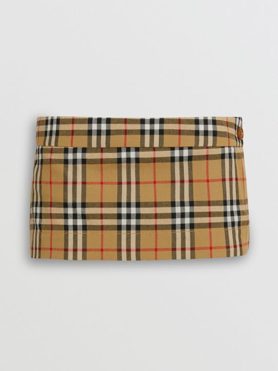 Vintage Check Wool Twill Mini Skirt in Antique Yellow