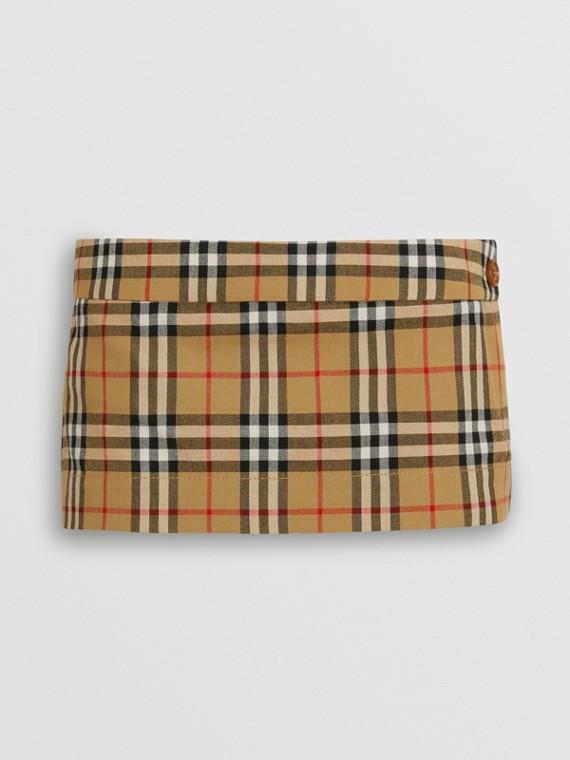 Vintage 格紋羊毛斜紋迷你裙 (古典黃)