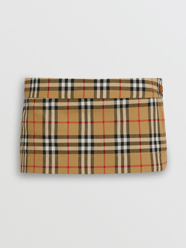 Vintage Check Wool Twill Mini Skirt in Antique Yellow - Women | Burberry - cell image 3