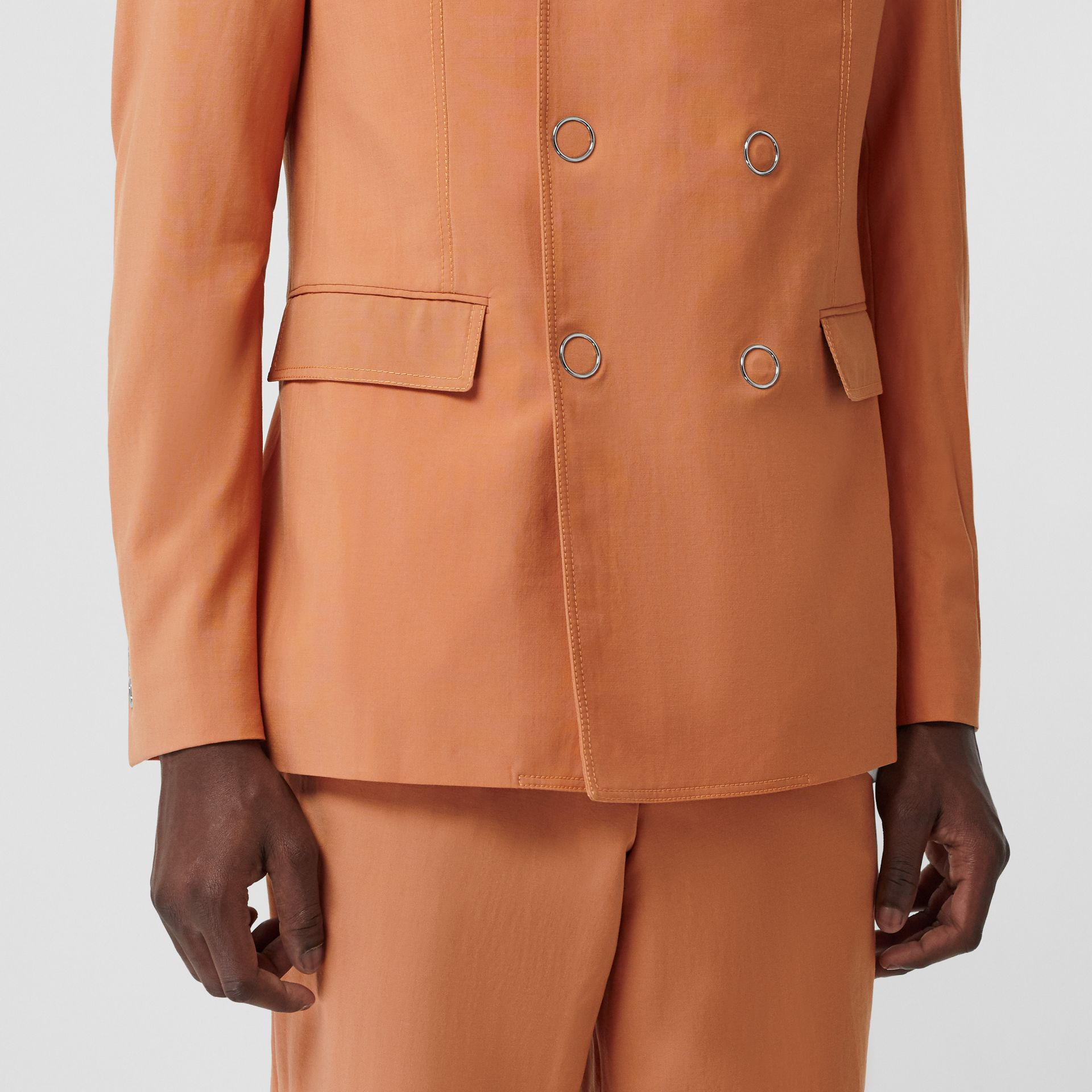Slim Fit Press-stud Wool Tailored Jacket in Orange | Burberry Australia - gallery image 5