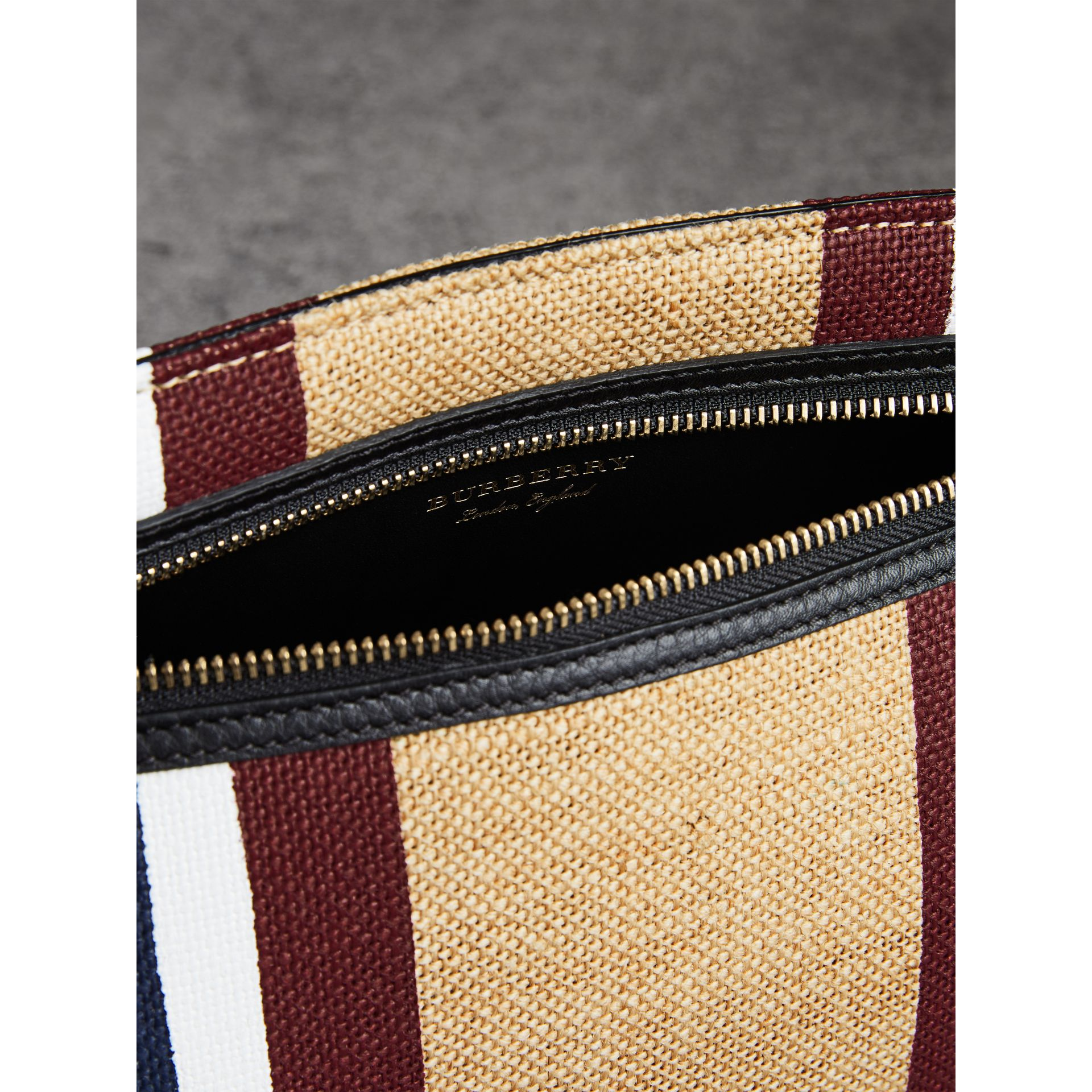 Striped Jute Wristlet Clutch in Black - Women | Burberry Singapore - gallery image 5