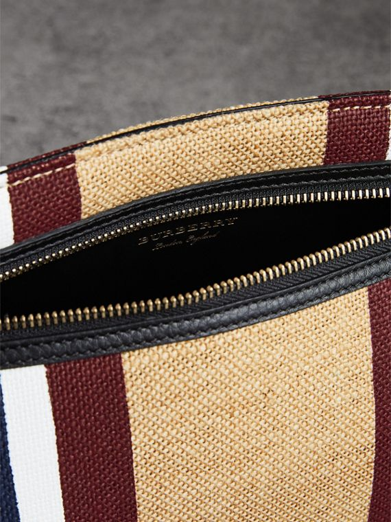 Striped Jute Wristlet Clutch in Black - Women | Burberry - cell image 3