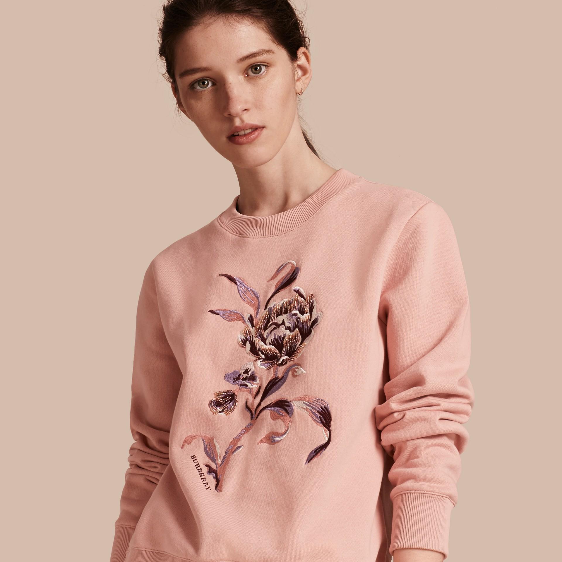 Embroidered Floral Motif Cotton Blend Sweatshirt Ash Rose - gallery image 1