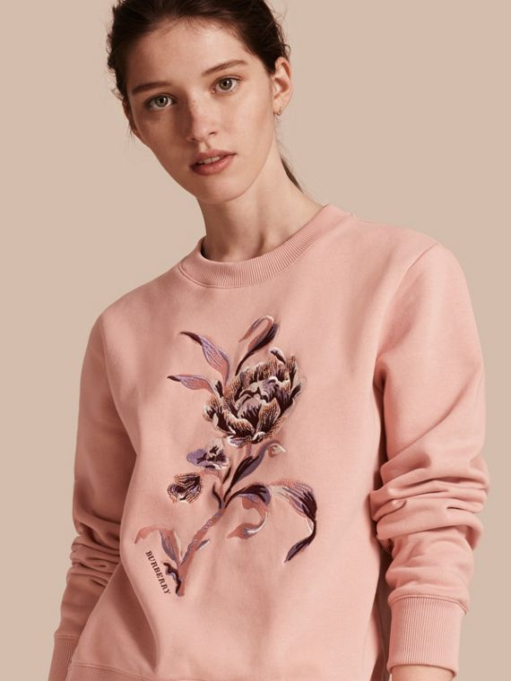 Embroidered Floral Motif Cotton Blend Sweatshirt Ash Rose