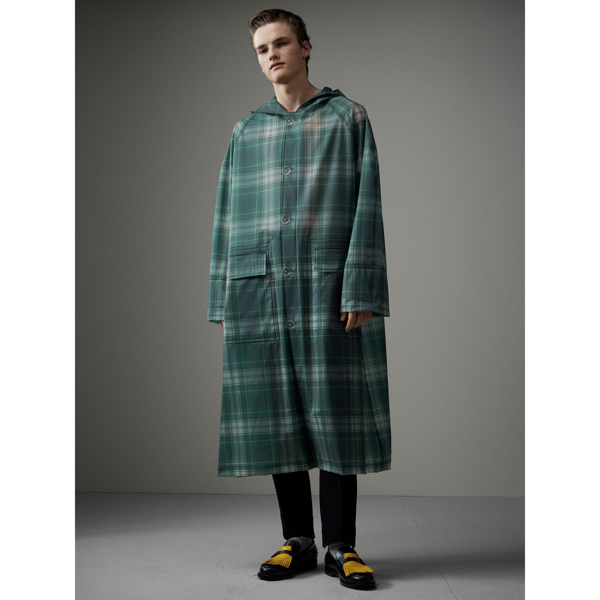 Tartan Soft-touch Plastic Hooded Car Coat in Navy - Men | Burberry - gallery image 1