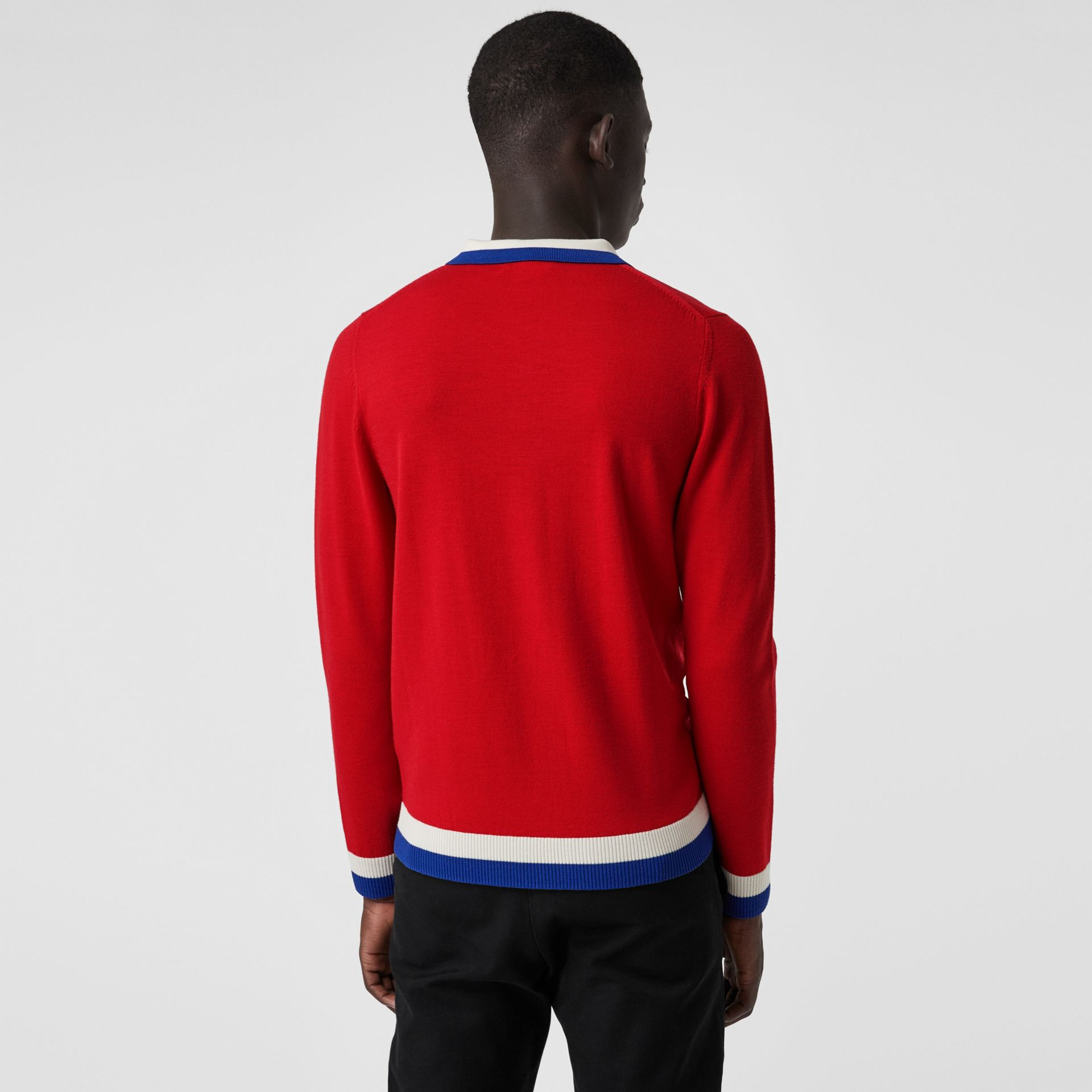 Stripe Detail Merino Wool Long-sleeve Polo Shirt in Bright Red - Men | Burberry - gallery image 2