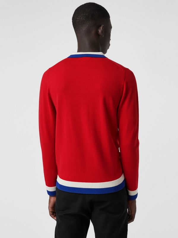 Stripe Detail Merino Wool Long-sleeve Polo Shirt in Bright Red - Men | Burberry United Kingdom - cell image 2