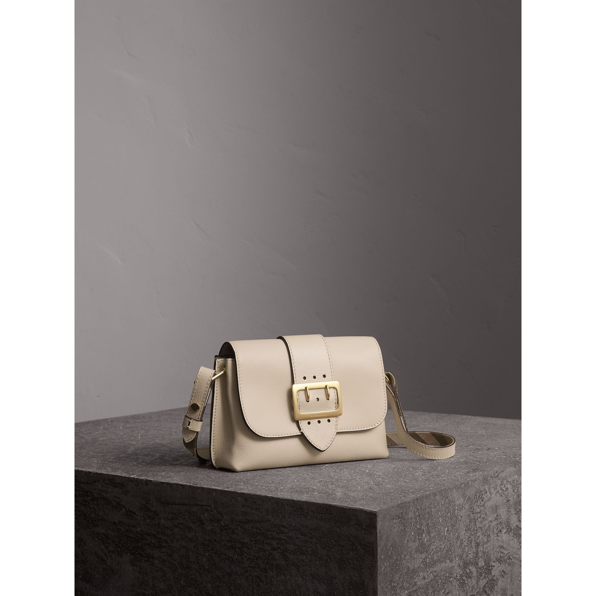 The Buckle Crossbody Bag in Leather in Limestone - Women | Burberry United Kingdom - gallery image 7