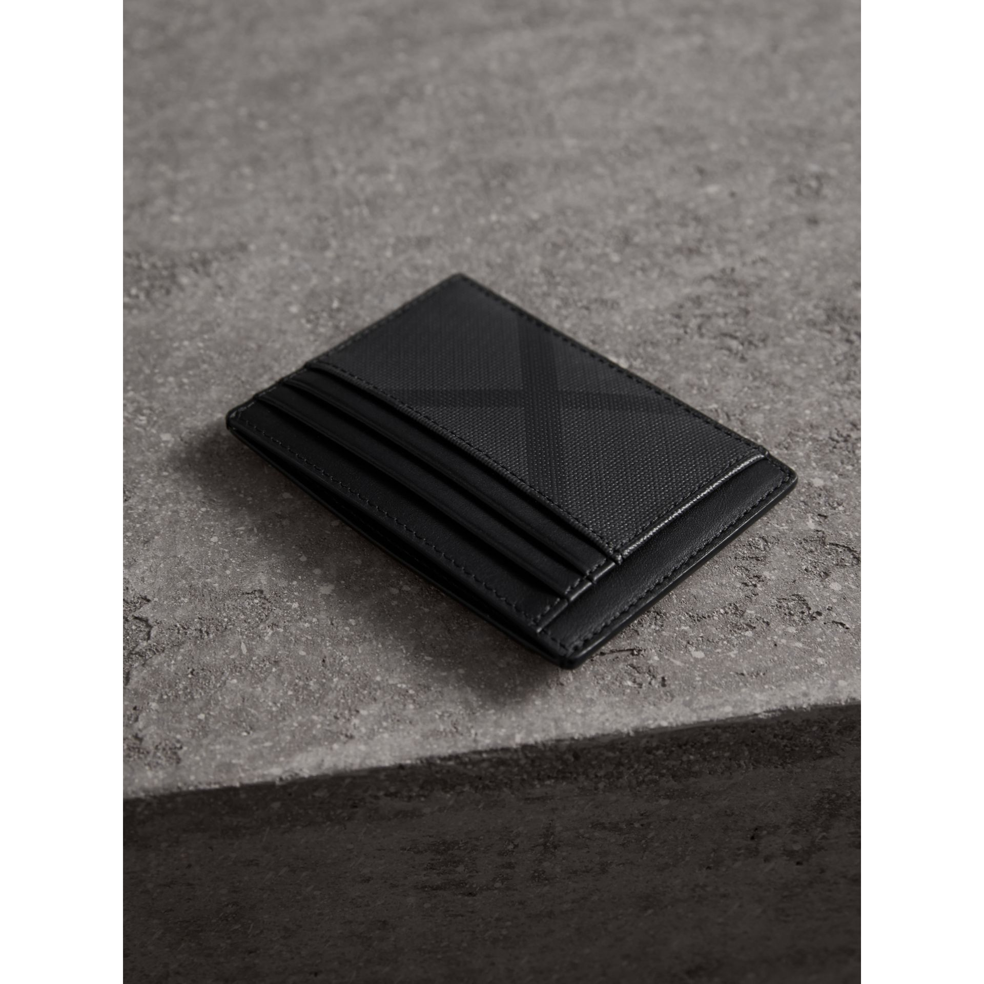 London Check Card Case in Charcoal/black - Men | Burberry Hong Kong - gallery image 3