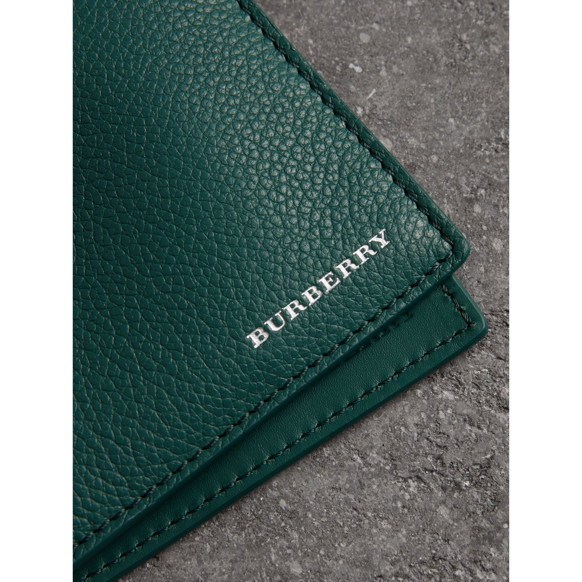 Grainy Leather Bifold Wallet in Dark Cyan - Men | Burberry United Kingdom - gallery image 1