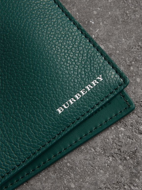 Grainy Leather Bifold Wallet in Dark Cyan - Men | Burberry - cell image 1