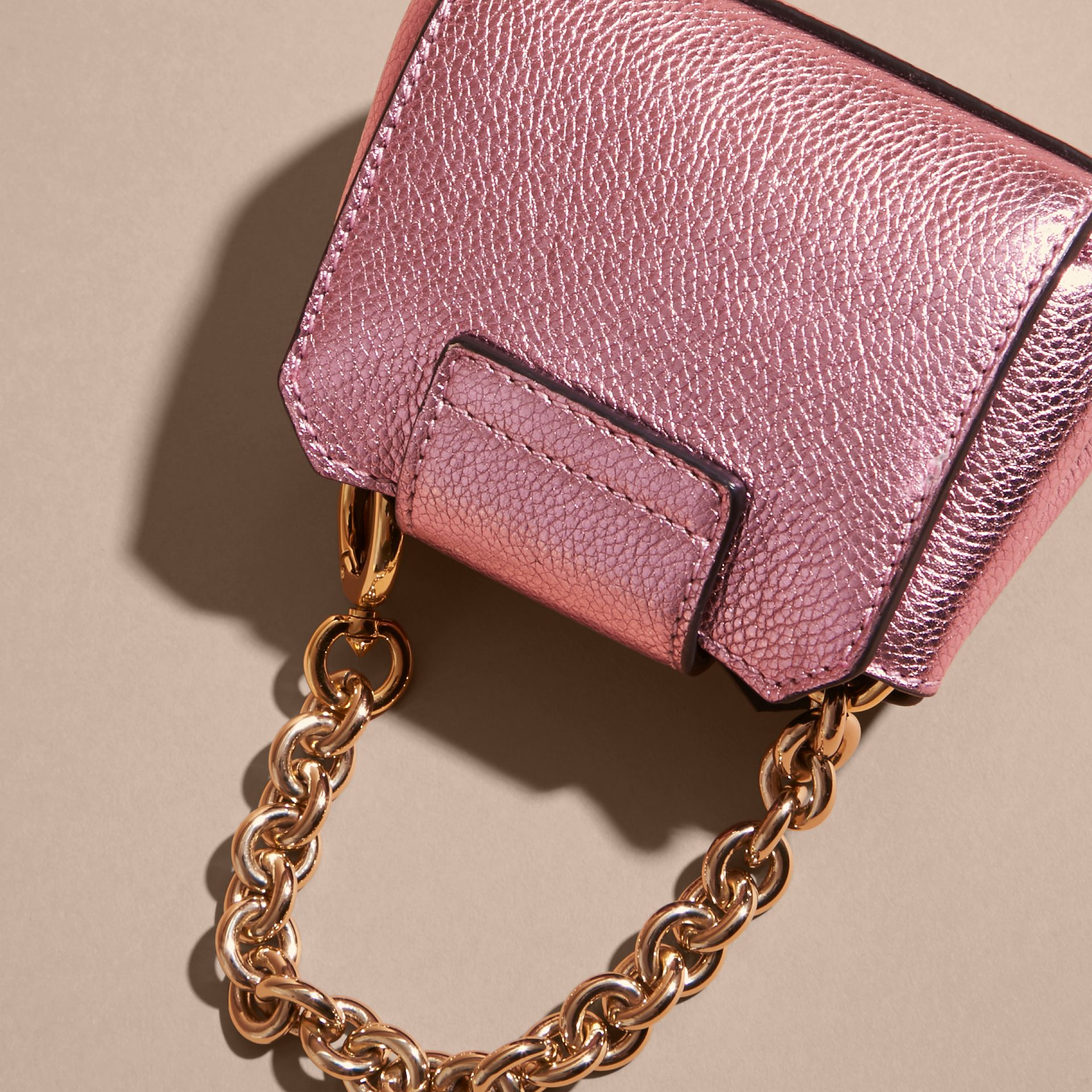 The Mini Buckle Tote Charm in Metallic Leather in Pale Orchid - gallery image 4