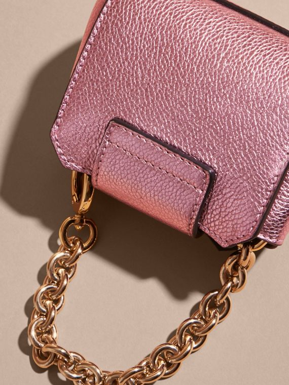 The Mini Buckle Tote Charm in Metallic Leather in Pale Orchid - cell image 3
