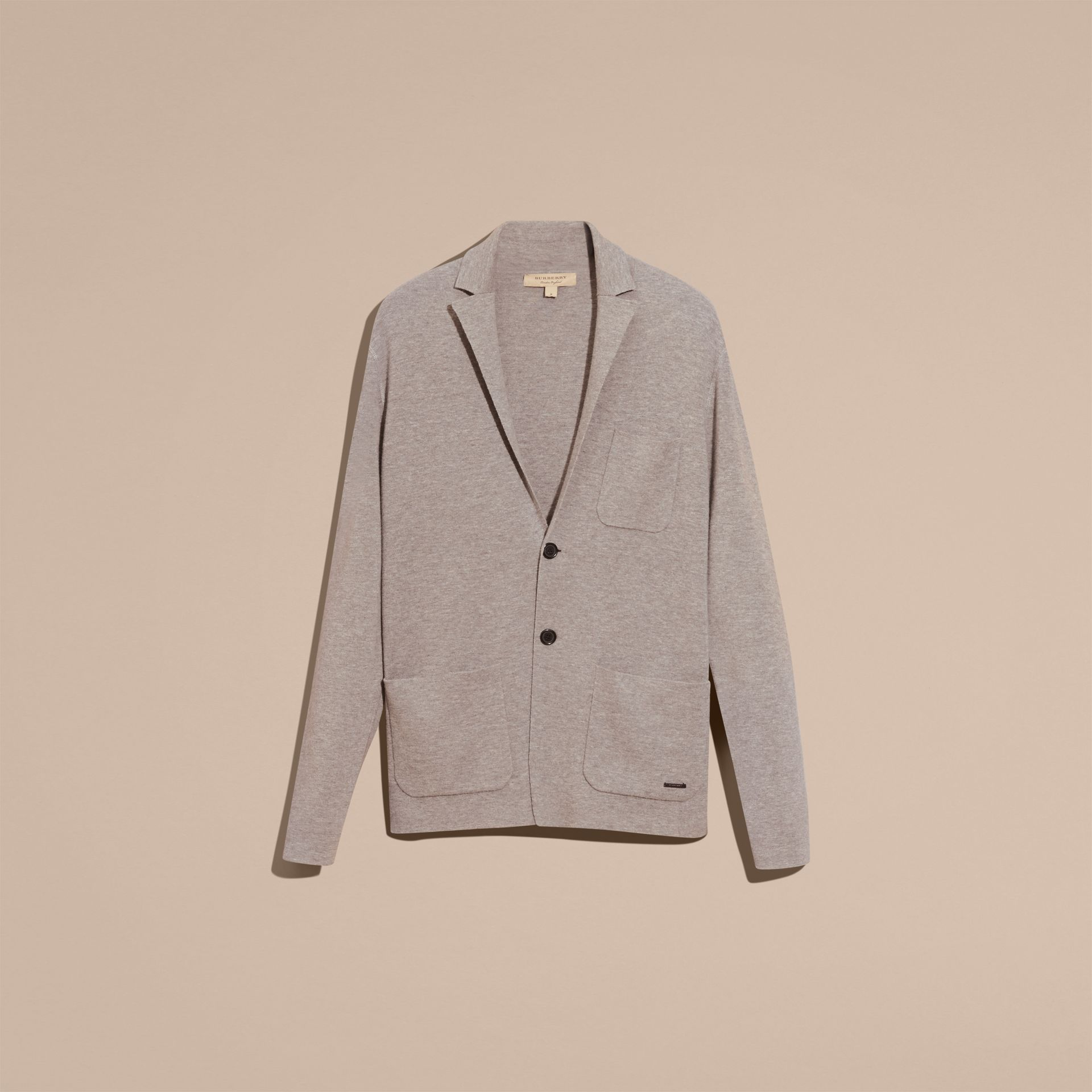 Light grey melange Wool Cashmere Knitted Jacket - gallery image 4