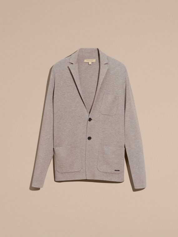 Light grey melange Wool Cashmere Knitted Jacket - cell image 3
