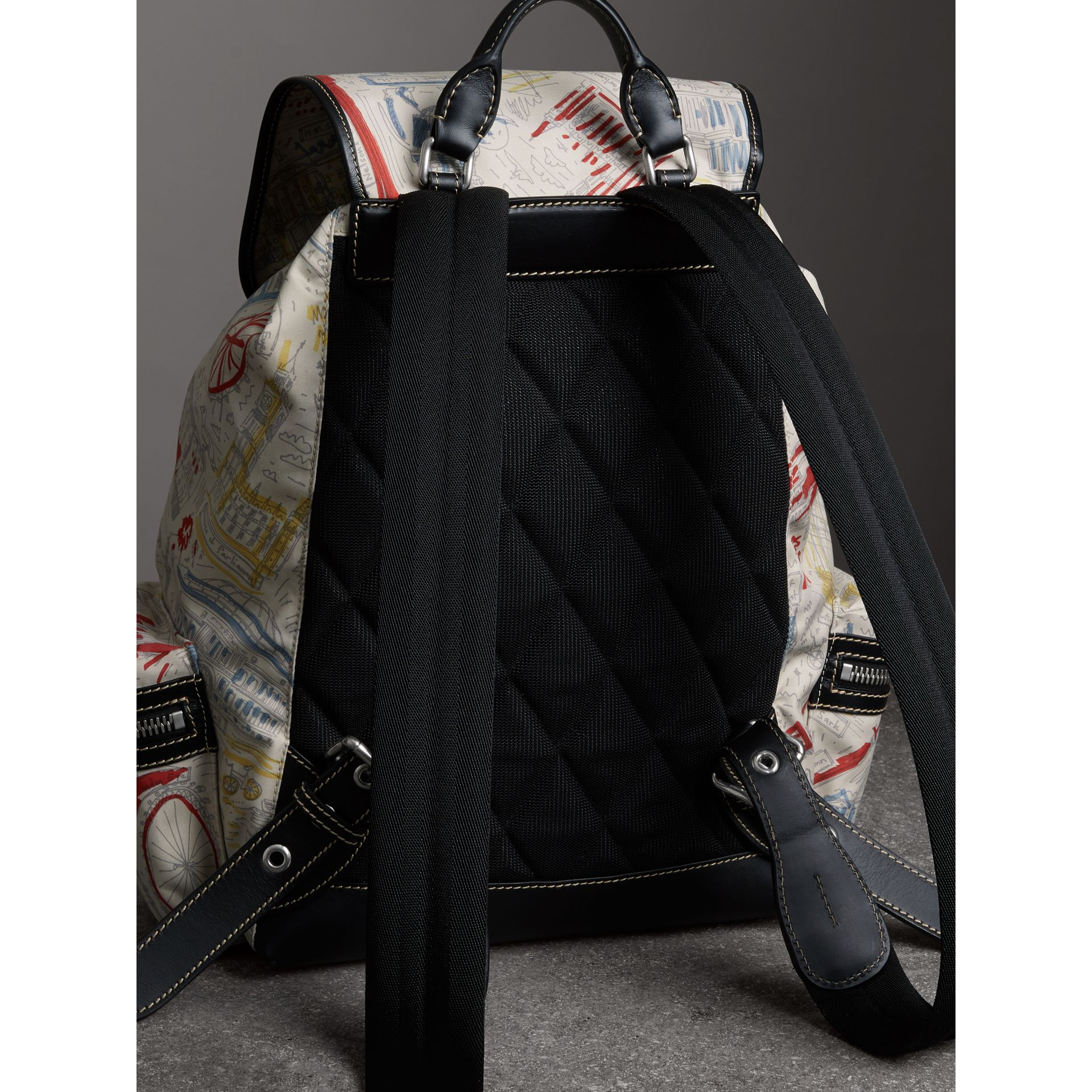 The Large Rucksack in London Print Canvas and Leather in Multicolour - Men | Burberry Singapore - gallery image 4