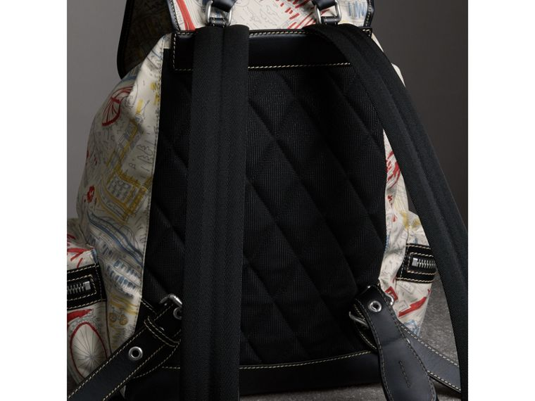 The Large Rucksack in London Print Canvas and Leather in Multicolour - Men | Burberry - cell image 4