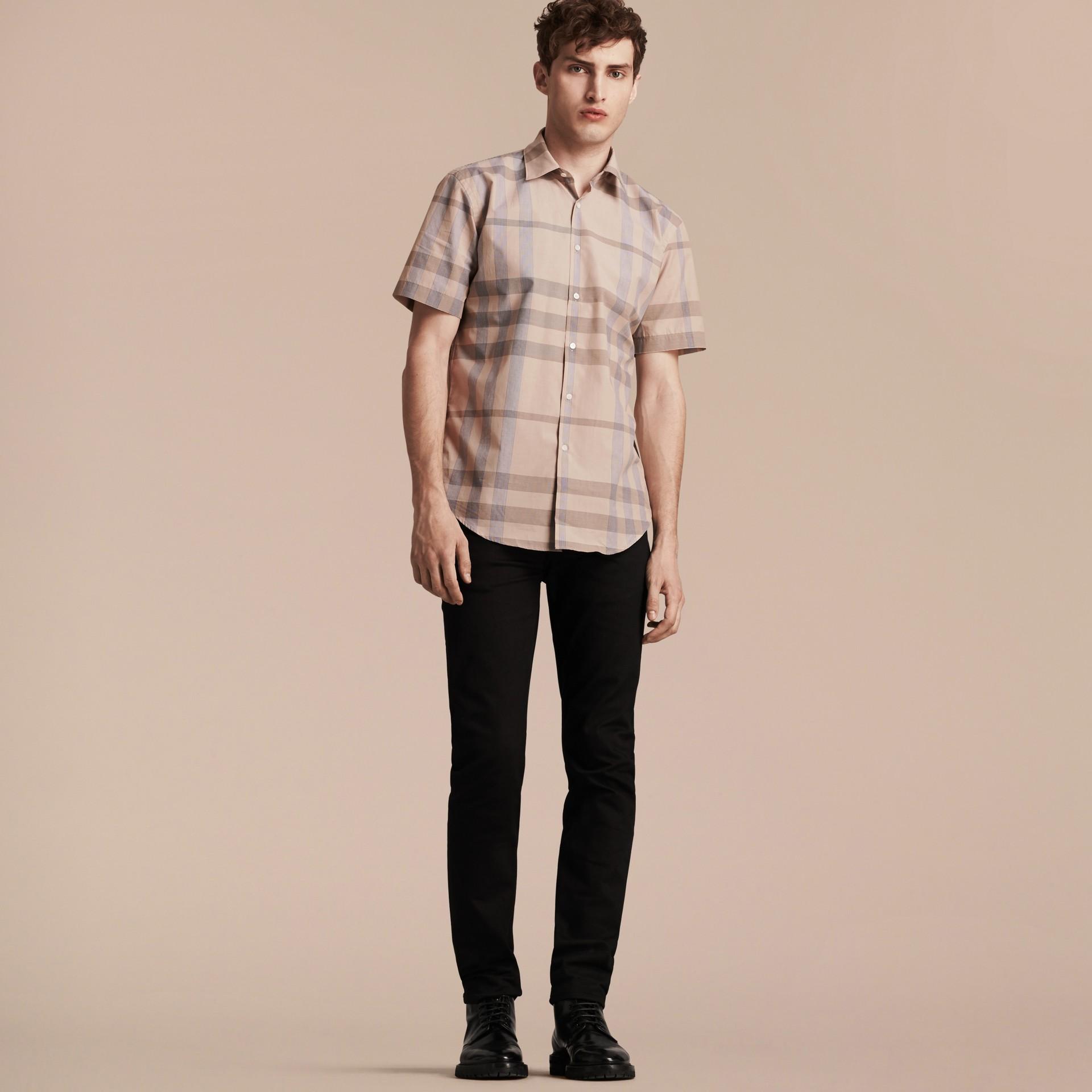Cammello chiaro Camicia a maniche corte in cotone con motivo check Cammello Chiaro - immagine della galleria 6