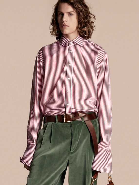 Striped Double-cuff Cotton Shirt