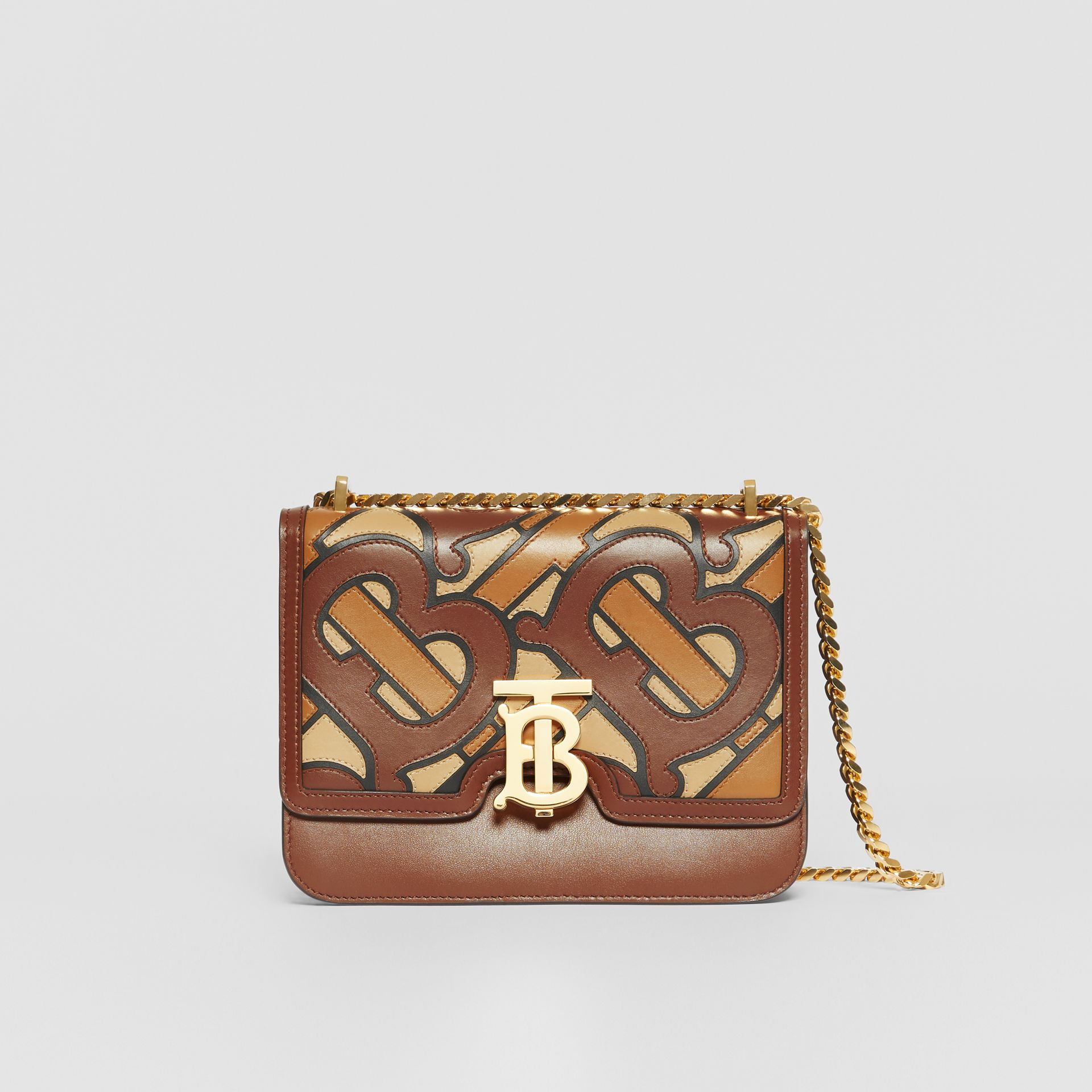 Small Monogram Appliqué Leather TB Bag in Brown - Women | Burberry United Kingdom - gallery image 0