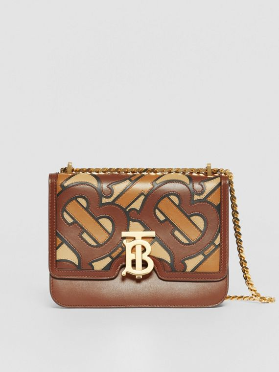 Small Monogram Appliqué Leather TB Bag in Brown