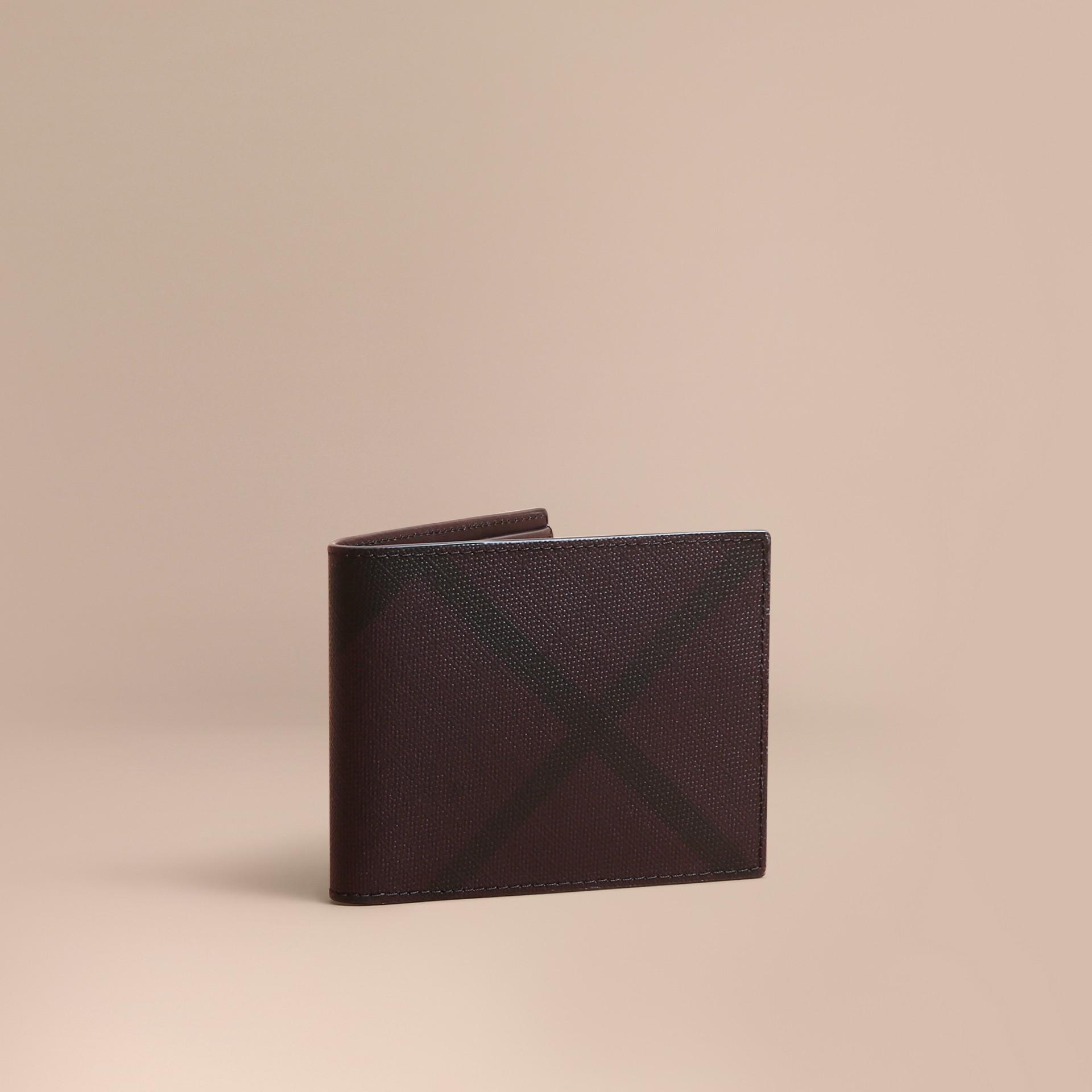 London Check Bifold Wallet Deep Claret - gallery image 1