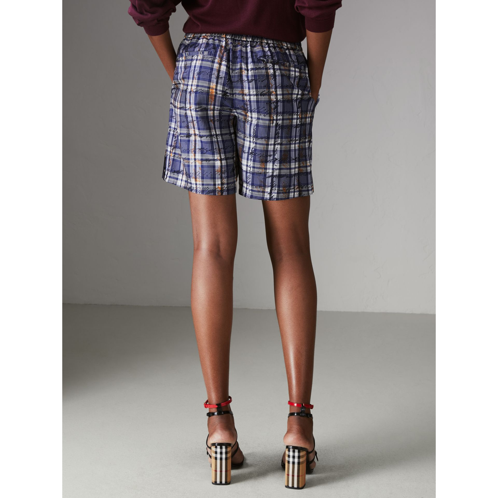 Scribble Check Silk Drawstring Shorts in Navy/white - Women | Burberry - gallery image 2