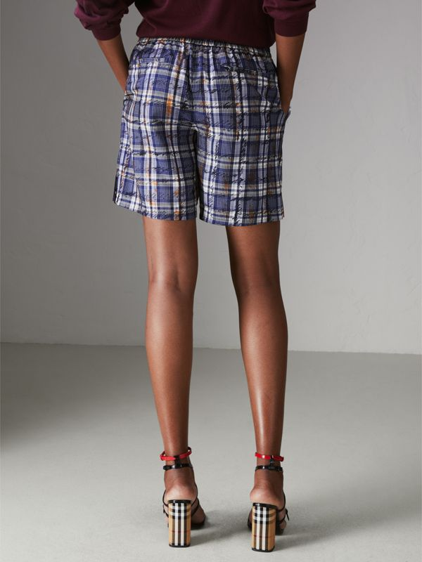 Scribble Check Silk Drawstring Shorts in Navy/white | Burberry United Kingdom - cell image 2