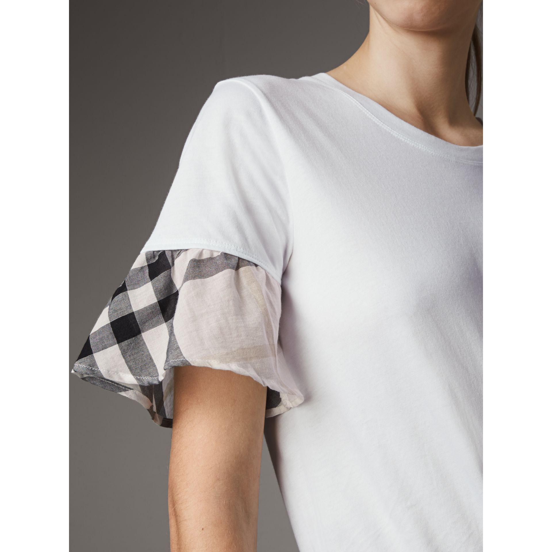 Flared-sleeve Check Detail Cotton T-shirt in White - Women | Burberry - gallery image 2