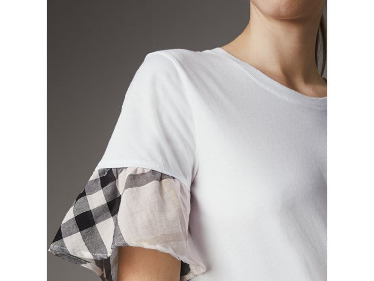 Flared-sleeve Check Detail Cotton T-shirt in White - Women | Burberry - cell image 1
