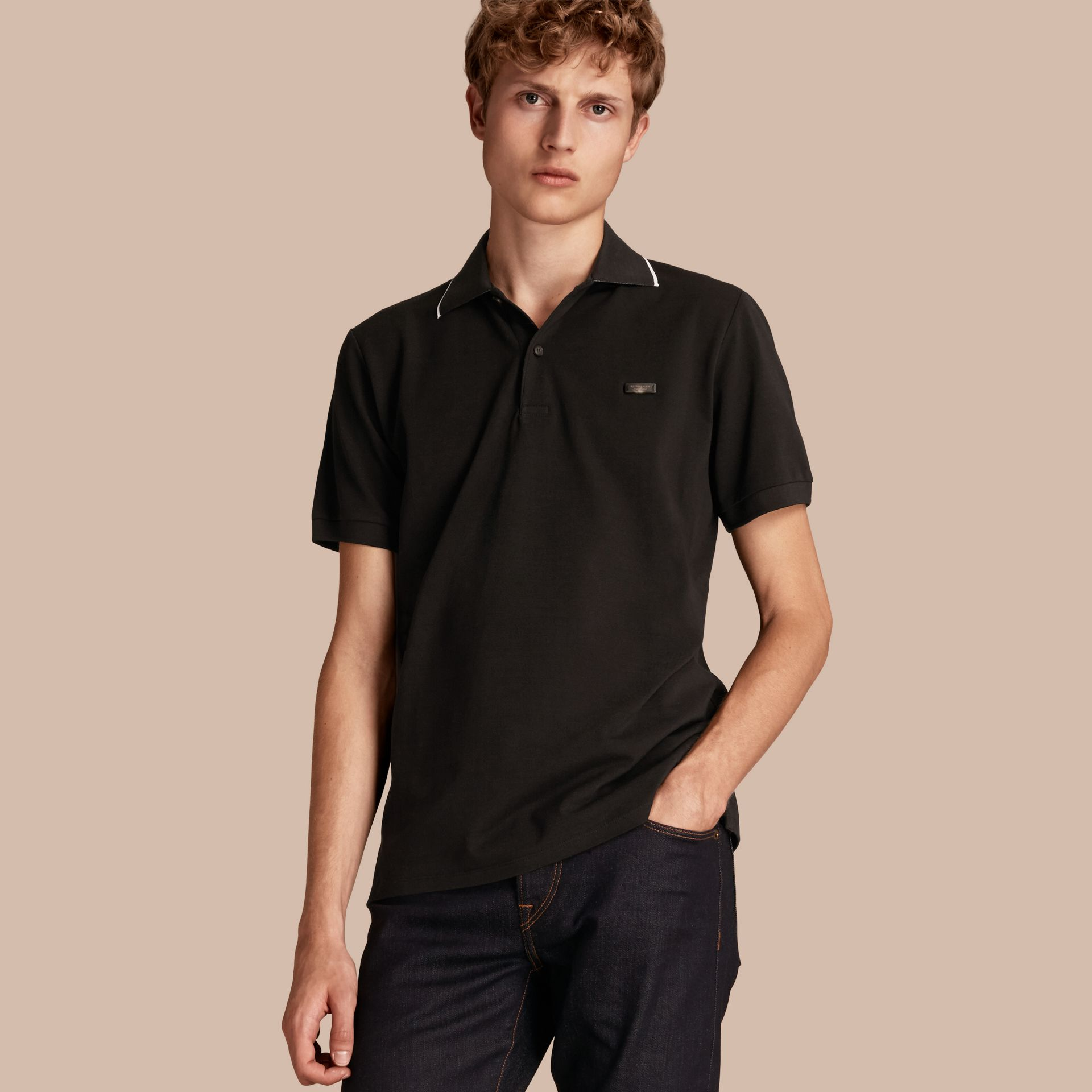 Tipped Collar Cotton Piqué Polo Shirt in Black - gallery image 1