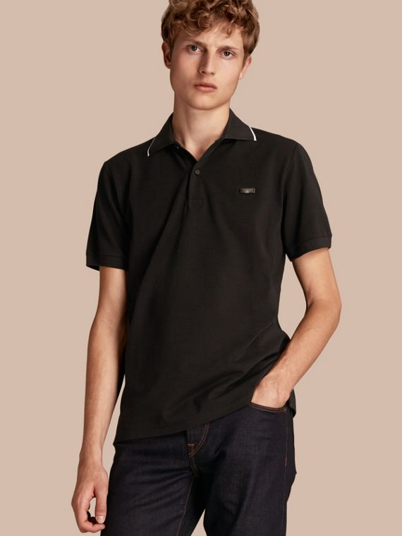 Tipped Cotton Piqué Polo Shirt Black