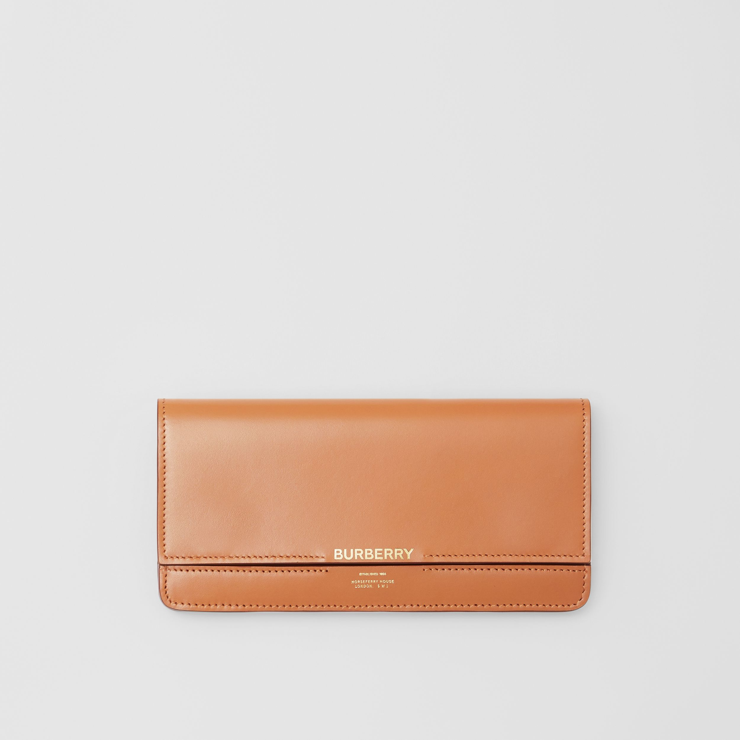 Horseferry Embossed Leather Continental Wallet in Nutmeg - Women | Burberry - 1