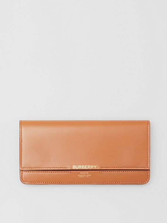 Horseferry Embossed Leather Continental Wallet in Nutmeg