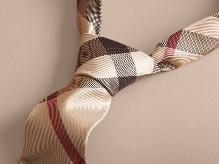 Modern Cut Check Silk Tie in New Classic - Men | Burberry Canada - cell image 1
