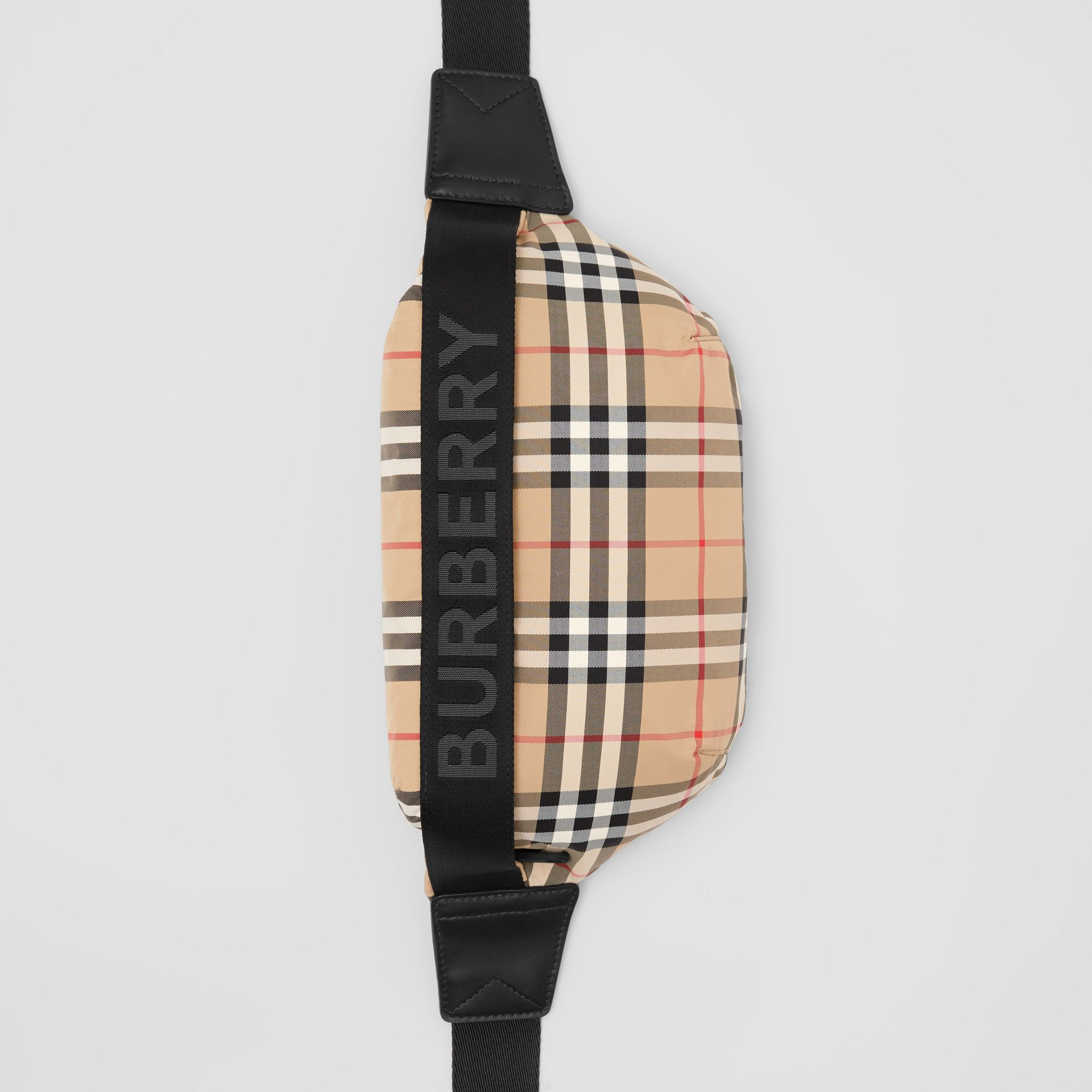 Medium Vintage Check and Icon Stripe Bum Bag in Archive Beige - Women | Burberry - gallery image 3