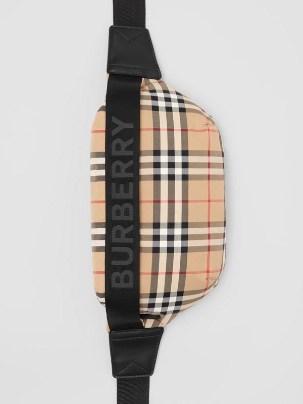 Medium Vintage Check and Icon Stripe Bum Bag in Archive Beige - Women | Burberry - cell image 3