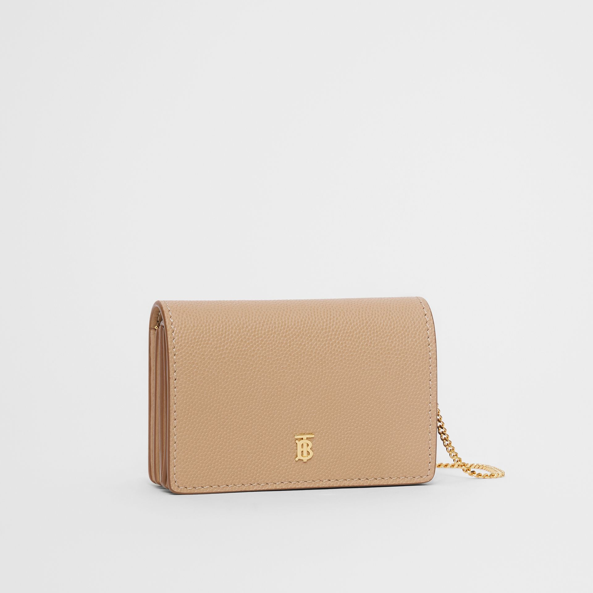 Grainy Leather Card Case with Detachable Strap in Archive Beige - Women | Burberry Australia - gallery image 4